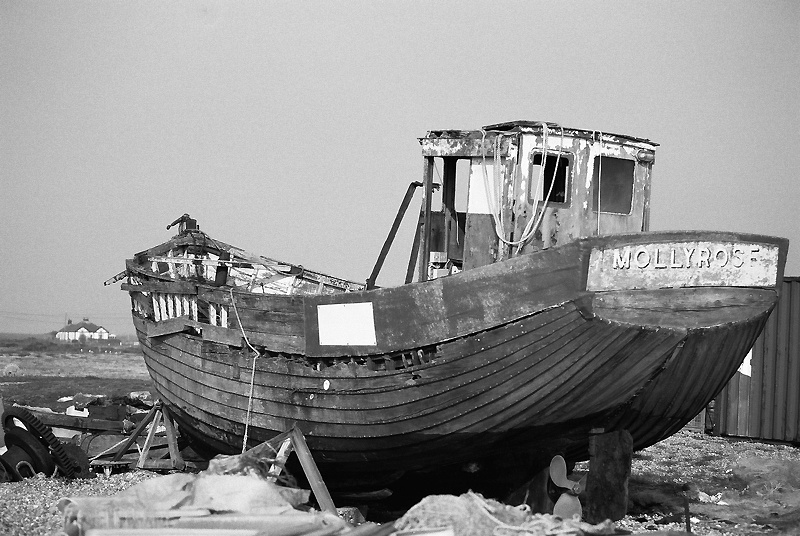 The fishing boat Molly Rose at Dungeness before its destruction.