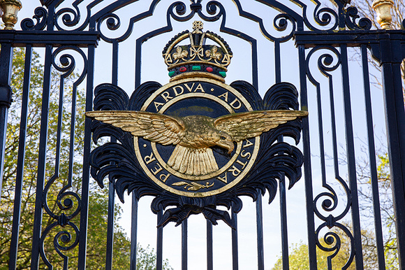 RAF badge on the wrought iron gates at RAF Cranwell