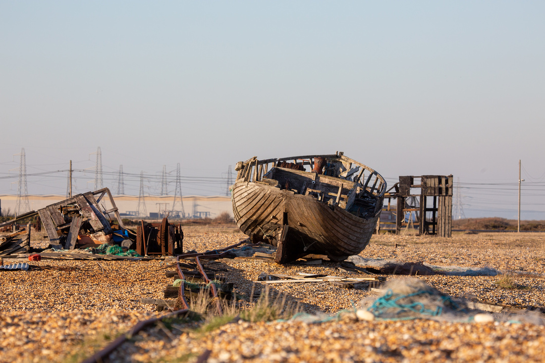 Disintegrating fishing gear on Dungeness beach