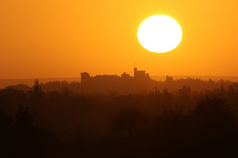 Sunrise behind Windsor Castle